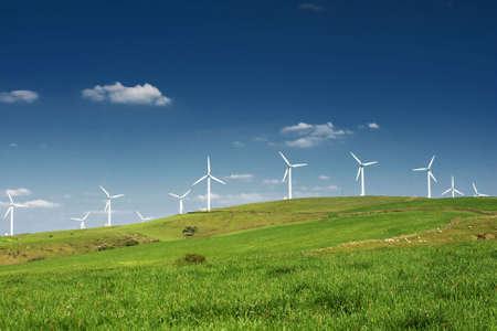 wind turbines: Wind turbines farm. Alternative energy source.  Stock Photo