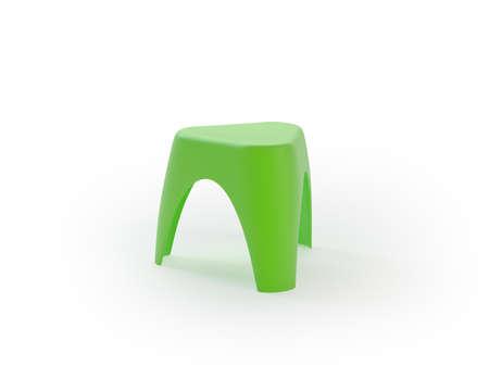 Green plastic children chair on white background Stock Photo