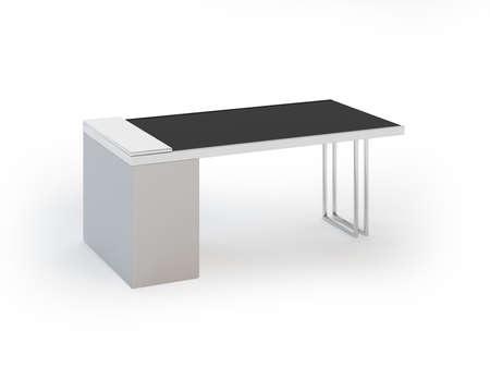 Contemporary Office Table on White Background Stock Photo - 9937127