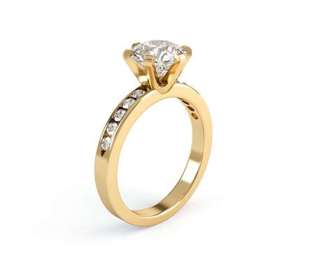 anillos de boda: Bodas de oro anillo de diamantes aislados sobre fondo blanco Foto de archivo