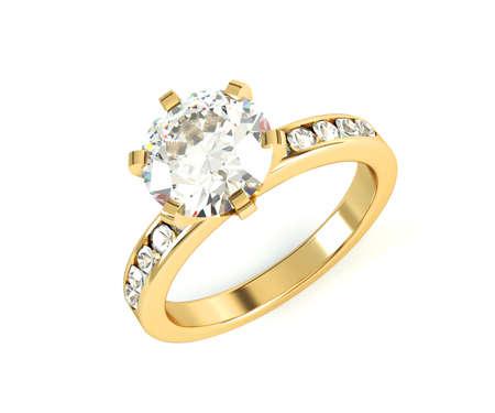 anillo de compromiso: Bodas de oro anillo de diamantes aislados sobre fondo blanco Foto de archivo