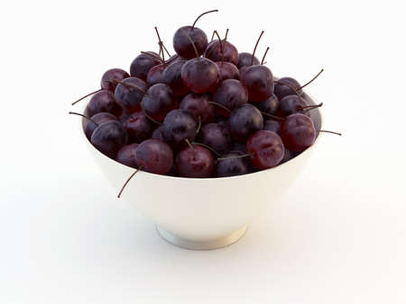 Bowl of Cherry fruits on a white background Stock Photo - 14584692