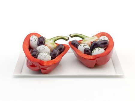 Greek Salad with Pepperoni Stock Photo