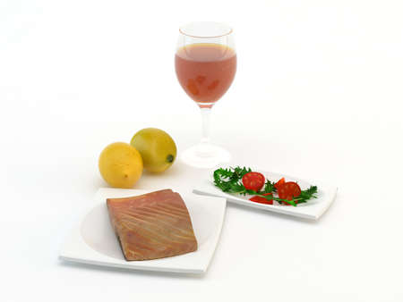 Grilled salmon wine lemon and salad photo
