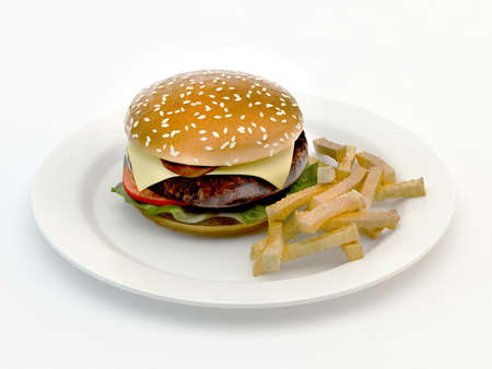Hamburger meal served with french fries Stock Photo - 14590209