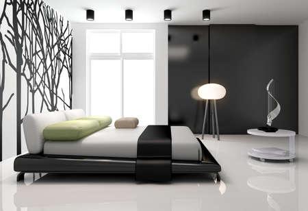 Minimalist bedroom interior photo