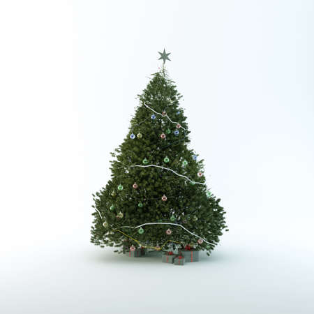 Christmas tree isolated on white background Stock Photo - 14745931