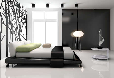 luxury hotel room: Minimalist bedroom interior