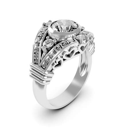 Wedding silver diamond ring isolated on white background photo