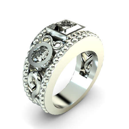 Wedding silver diamond ring isolated on white background Stock Photo - 14826285