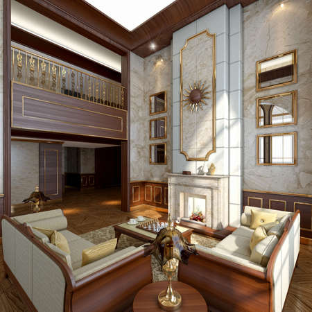 blockh�tte: Modern Luxury Interior im Winter Lizenzfreie Bilder