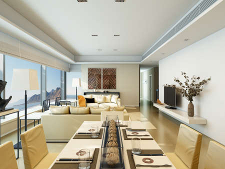 residence: Interior of a modern house with living room and dining on coastline