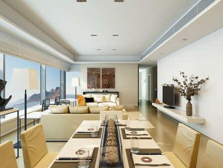 Modern Living-room Con Sala Da Pranzo E Cucina. Rendering 3D. Foto ...