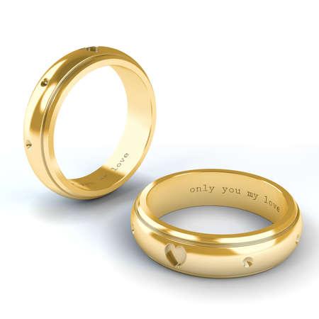 Wedding gold rings isolated on white background Stock Photo - 14984417