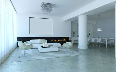 White minimalist lounge style living and dining room with fireplace Stock Photo - 15058091