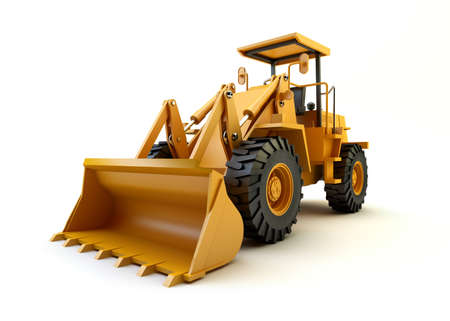mover: Front end loader isolated on white Stock Photo