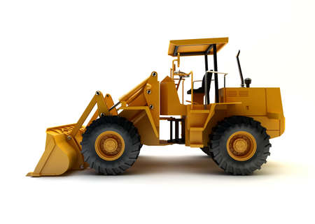 wheel loader: Front end loader isolated on white Stock Photo