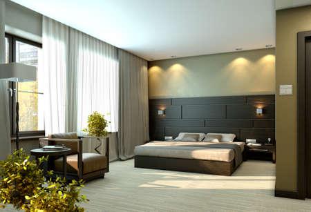 chambre à coucher: Modern interior chambre de luxe élégant