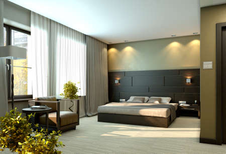 3d bedroom: Modern luxury elegant bedroom interior
