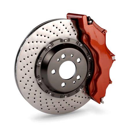 frenos: Disco de freno y pinza rojo de un coche de carreras aisladas sobre fondo blanco