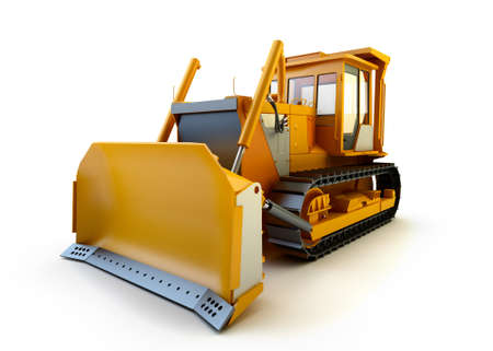 wheel loader: Bulldozer isolated on white Stock Photo