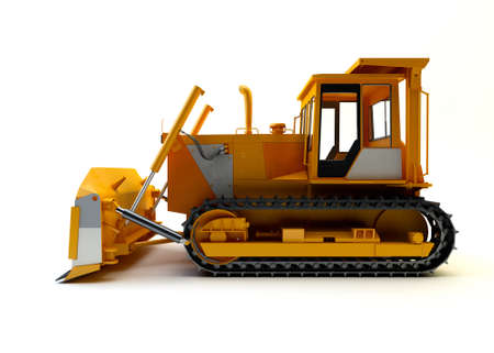 Bulldozer isolated on white Stock Photo