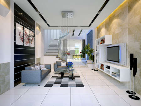 render residence: Interior of a modern house with living room and dining