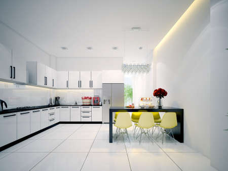 Modern contemporary white Kitchen with dining Stock Photo