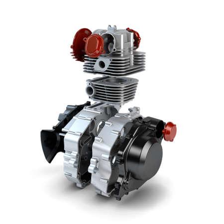 Disassembled motorcycle performance engine isolated on white Stock Photo