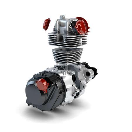 disassembled: Disassembled motorcycle performance engine isolated on white Stock Photo