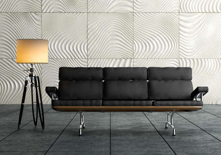 A modern brown sofa and  lamp against concrete background on wooden floor  photo