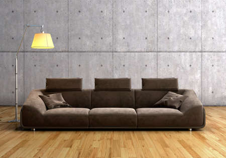 A modern brown sofa and  lamp against concrete background on wooden floor  Stock Photo - 16446676