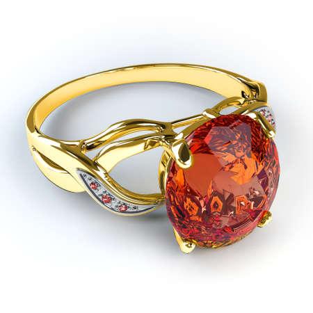 Wedding gold ring isolated on white background Stock Photo