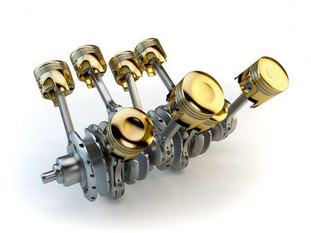 Pistons de moteurs V8 sur le vilebrequin