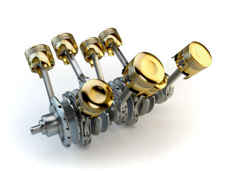 crankshaft: V8 engine pistons on crankshaft Stock Photo