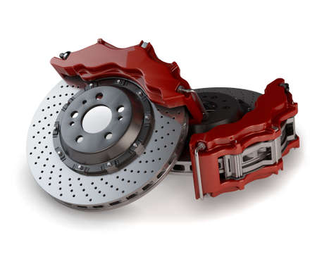 Brake Discs with Red Callipers from a Racing Car isolated on white background