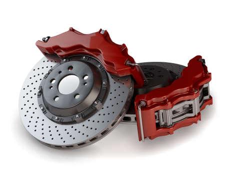 Los discos de frenos con pinzas rojas de un coche de carreras aisladas sobre fondo blanco Foto de archivo
