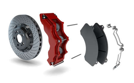 Disassembled Brake Disc with Red Calliper from a Racing Car photo
