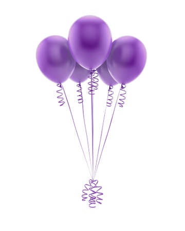 Flying purple balloons isolated on white
