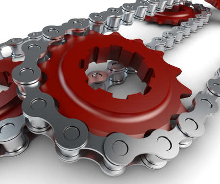sprocket: Sprocket with chain Stock Photo