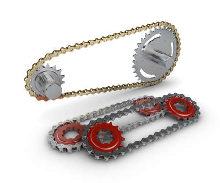 Sprocket with metal link chain Stock Photo - 16945281