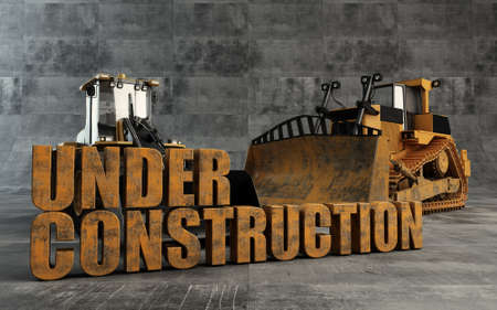 Under Construction background with bulldozer and loader Stock Photo