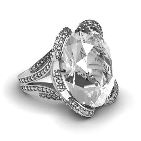 anillo de compromiso: Plata anillo de bodas de diamante aislado en el fondo blanco Foto de archivo