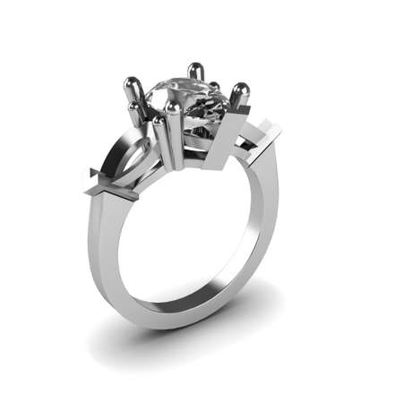 Wedding silver diamond ring isolated on white background Stock Photo - 17210826