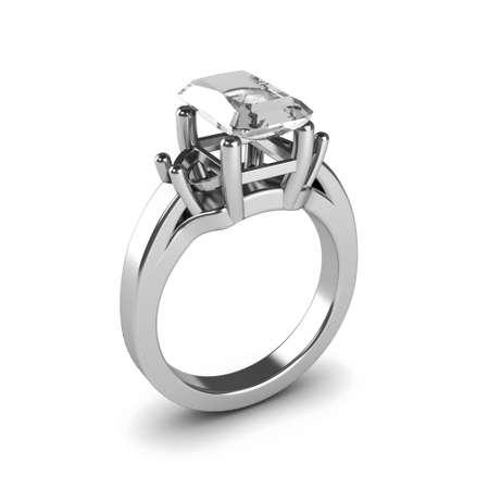 Wedding silver diamond ring isolated on white background Stock Photo - 17210825
