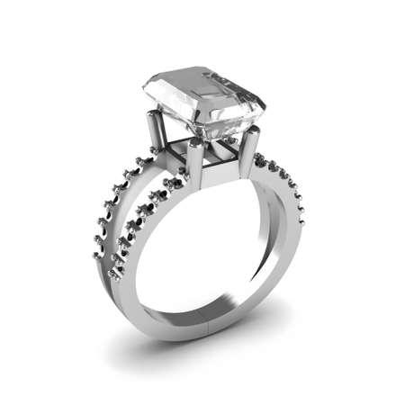 Wedding silver diamond ring isolated on white background Stock Photo - 17210811
