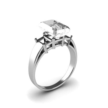 Wedding silver diamond ring isolated on white background Stock Photo - 17210809
