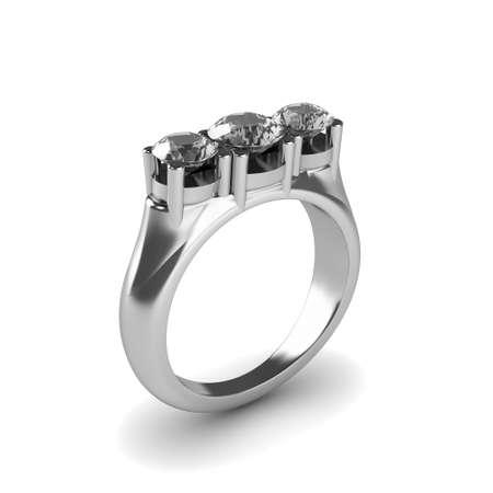 Wedding silver diamond ring isolated on white background Stock Photo - 17210803