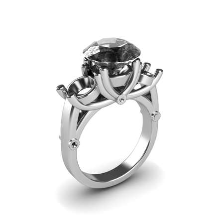 Wedding silver diamond ring isolated on white background Stock Photo - 17210816