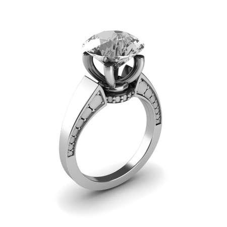Wedding silver diamond ring isolated on white background Stock Photo - 17210812